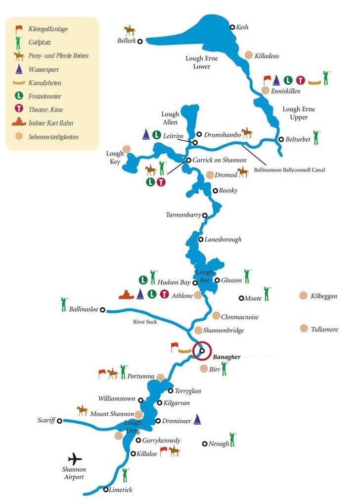 Shannon Wasserwege Karte - Bootsferien in Irland